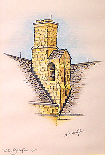 A print by R E Hallaghan called Manresa's Bell Tower