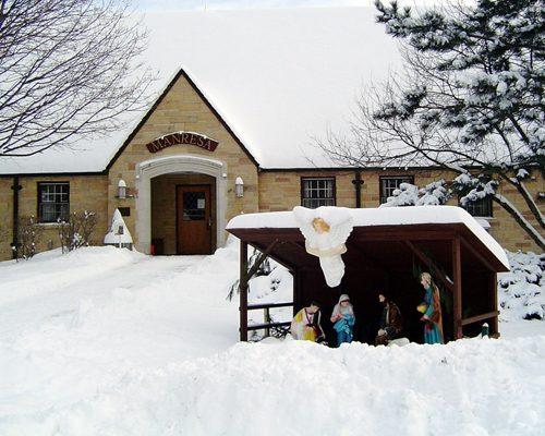 Manresa House in snow